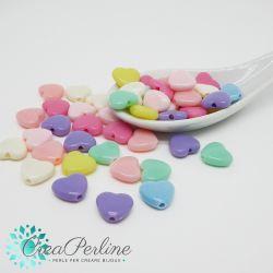 Perle in acrilico Cuore Stile Confetti  12mm - 30 pz