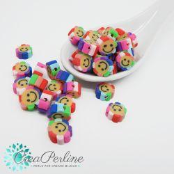 Perle in Pasta polimerica Fiore Smile mix color  -20 pz