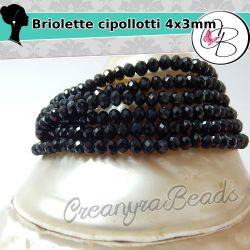 50 pz Rondella briolette Cipollotti nero 4x3 mm