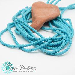 1 Filo perle in turchese sintetico 4 mm tondo tono azzurro