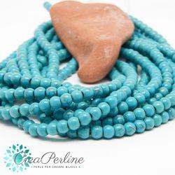 1 Filo perle in turchese sintetico 6 mm tondo tono azzurro