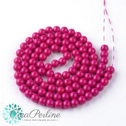 1 Filo perle in vetro 6 mm tondo tono fuchsia +/- 140 pz