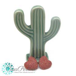 2 Pz perla Cuore in pietra lavica Rosso Mattone 20mm
