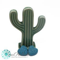 2 Pz perla Cuore in pietra lavica Blu Sapphire  20mm