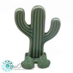 2 Pz perla Cuore in pietra lavica Verde Menta 20mm