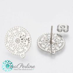 1 Paio Perno per orecchini a bottone in acciaio inossidabile con anello
