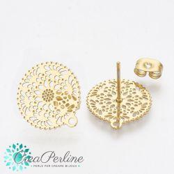 1 Paio Perno per orecchini a bottone in acciaio inossidabile tono oro con anello
