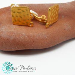 1 Paio Perno in Zama per orecchini Oro Satin Clip quadrato geometrico