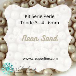 KIT SERIE PERLINE VETRO DI BOEMIA NEON SAND 3-4-6 mm