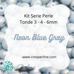 KIT SERIE PERLINE VETRO DI BOEMIA NEON BLUE GRAY 3-4-6 mm