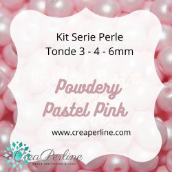 KIT SERIE PERLINE VETRO DI BOEMIA POWDERY PASTEL PINK 3-4-6 mm