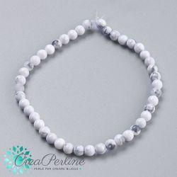 1 Filo  Perle in pietra dura Howlite Bianco 4mm