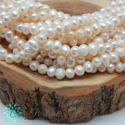 1 Filo Perle di fiume calibro  5-6 mm colore panna 33 cm +/- 75 pz