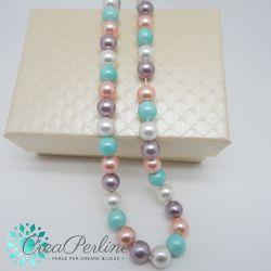 1 filo perle di maiorca 8 mm toni perlato bianco - Malva  - Pesca - Tiffany   50 pz