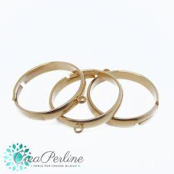 Base anello porta ciondoli in acciaio regolabile con 1 anellina