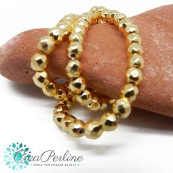 20 Pz Perle tonde sfaccettate in Hematite Ematite non magnetica tono oro 4 mm