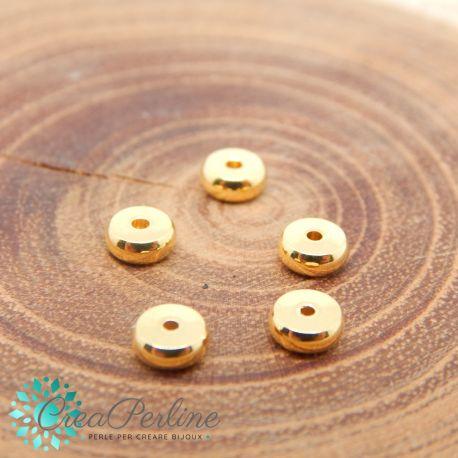 5 Pz Distanziatore dischetto 5 mm in acciaio inossidabile tono oro