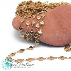 Catena in acciaio inossidabile tono oro cuori con anellini saldati - 50 cm