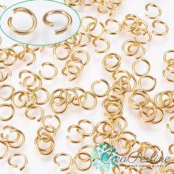 50 Pz Anellini di giunzione 5mm in acciaio inox dorato aperti filo 0,7mm