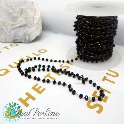 50 cm catena rosario nero acciaio oro