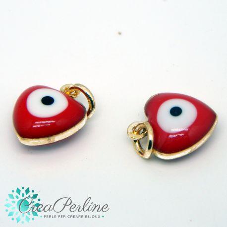 2 Pz Ciondolo Charms Occhio greco Cuore smaltato  3 d rosso in ottone  18k