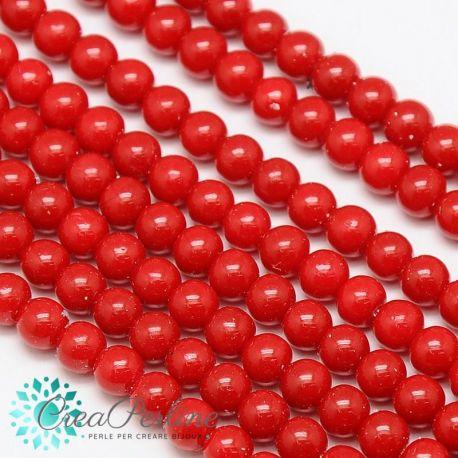 1 Filo Perla in vetro tono  Rosso  4 mm +/- 108pz