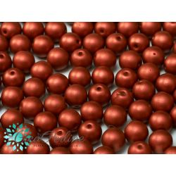 30 Pz Perle in vetro di boemia tonde  METALLIC LAVA RED  6 mm
