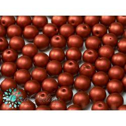 20 Pz Perle in vetro di boemia tonde  METALLIC LAVA RED  8 mm