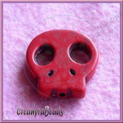 4 Pz Perla Teschio piatta in pietra dura howlite rosso 22x20 mm