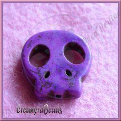 4 Pz Perla Teschio piatta in pietra dura howlite Viola 22x20 mm