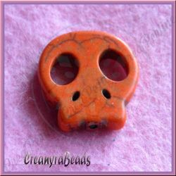 Perla sagoma Teschio in pietra dura howlite Arancio 22x20 mm