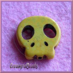 4 pz Perla Teschio piatta in pietra dura howlite Giallo 22x20 mm