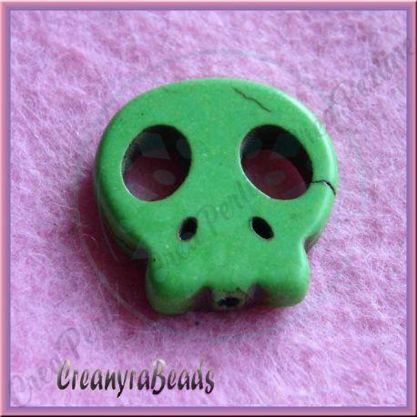 Perla sagoma Teschio in pietra dura howlite Verde 22x20 mm