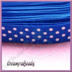 1 Metro Nastro in tessuto grosgrain base blu bolli bianchi