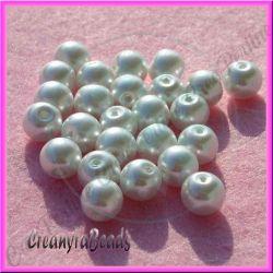 25 Pz  perla in vetro cerato 8 mm bianco neve perlato