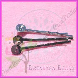 10 Pz Base fermaglio per capelli argentato con piastra 8 mm