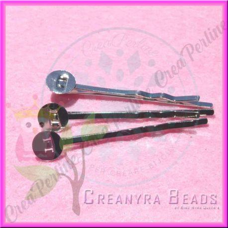 10 Pz Base fermaglio per capelli argentato con piastra 8 mm10 Pz Base fermaglio per capelli argentato con piastra 8 mm