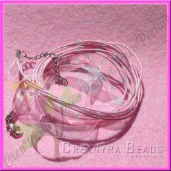 Catenina in cordino ed organza rosa 44 cm
