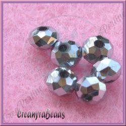 20 Pz Rondella Metal silver briolette mezzo cristallo  6 mm