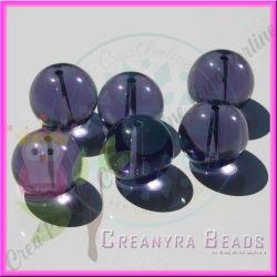 6 Pz sfera perla Viola in vetro pressato liscia 16 mm