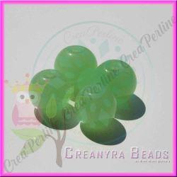 12 Pz sfera perla verde opal in vetro pressato liscia 8 mm