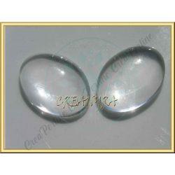 4 Pz Cabochon ovale clear in vetro effetto lente 25X18
