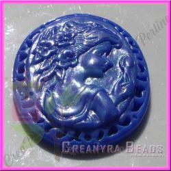 Maxi Cammeo Blu Ragazza allo specchio 75x55mm in resina