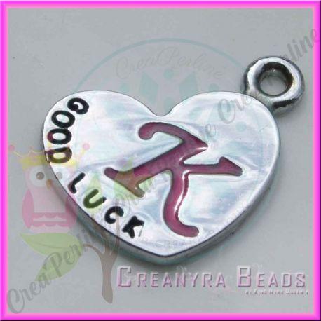 Charms ciondolo lettera k cuore specchio 13x18 mm - Specchio a cuore ...