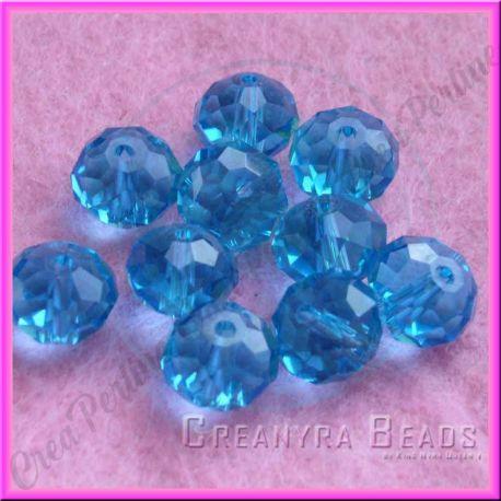 10 Perle Rondella Cristallo briolette Azzurro 10 mm