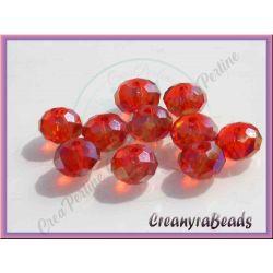 20 Pz Rondella briolette mezzo cristallo Rosso 6 mm