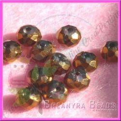 20 Pz Rondella briolette mezzo cristallo Crystal Bronzo 6 mm
