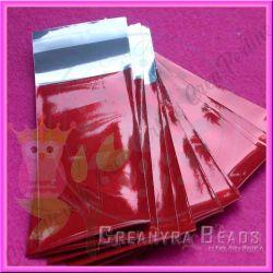 10 Pz Sacchetto regalo cellophane rosso autoadesivo 23x12 cm