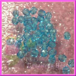 25 Pz Perle Cristallo fire polish azzurro  6 mm