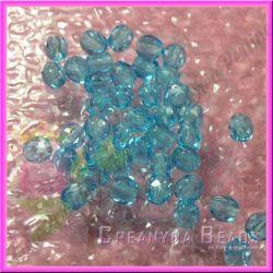 25 Pz Perle Cristallo fire polish azzurro  6 mm